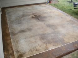 Stained patio before Sealer