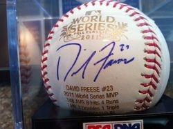 David Freeze, WS MVP, MLB Selig 2011 WS Baseball, Engraved Ball, PSA#Q99083 #7/23 Mint 9