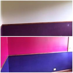 Before and After shot of two toned room