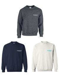 Sweatshirts, Crewneck.  50/50 Heavy Blend - Dark Heather, Navy Blue and White