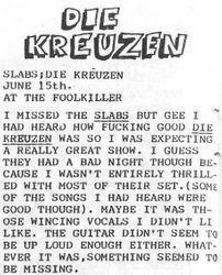 Show review, Foolkiller, Kansas City 06-15-1984