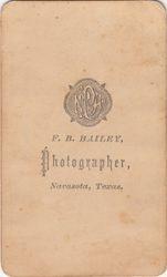 F. B. Bailey, photographer of Navasota, TX - back