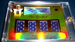 2010 Topps Tribute Sam Bradford Rookie Auto QUAD RELICS GOLD HIS JSY #! 8/15!