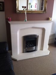 Inset Gas Fire an Limestone Fire Surround Installation. 2.