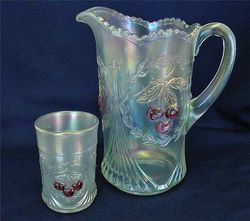 Wreathed Cherry pitcher and tumbler, white with red cherries, Dugan/Diamond