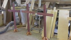easter crosses for a church made out of african purple heart