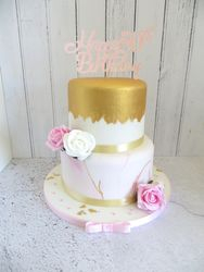 50th Birthday gold, pink and white cake