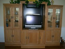 MITSUBISHI FLAT SCREEN TELEVISION, ALL WOOD 3 SEPARATE PIECE UNIT