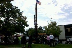 Steel column climbing contest.