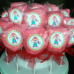 Red Cotton candy pops