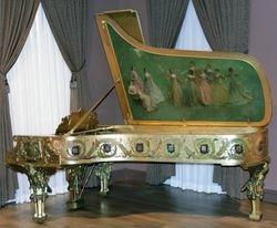 Dewing, America Receiving Music, piano lid, 1903, Smithsonian
