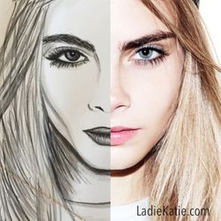Cara Delevingne Watercolor and photo Comparison