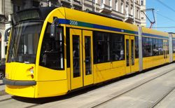 Close-up of a Siemens Combino Supra tram