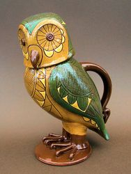 "Lidded Owl Jug with Wing Coverts 10"" tall"