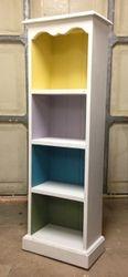 Colourful shelves.