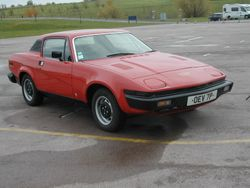 1976 TR7 showing the steel wheels and black plastic wheel centres