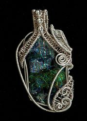Dichroic Glass in Sterling Silver