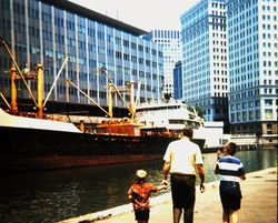 Robby, Dad and me outside the Chicago Daily News building, 1968