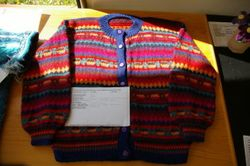 Hand knitted multicoloured cardigan by Jeannie Walker