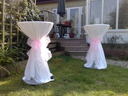 Cloths with bows on adjustable drinks tables