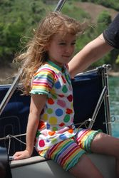 Emily getting windswept (at anchor!)
