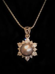 14k Tahitian Pearl Pendant with Halo