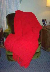 Red Simple Stripes Afghan - View 1