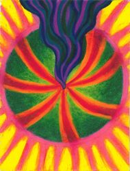 Healing Action Gathers Up And Pushes Out, Oil Pastel, 11x14, Original Sold