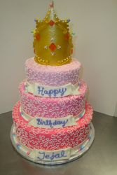 55 serving shades of pink with cornelli lace and gumpaste crown