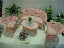 Pink wicker set