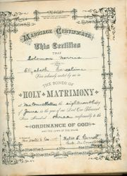 Family Bible Marriage Certificate for Solomon Norris and Margaret Elizabeth Corcelius