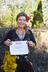 Nancy certified to teach Gypsy Caravan Tribal Belly Dancy (R)