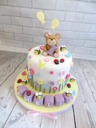Teddy bear and building blocks cake