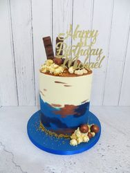 Blue and bronze buttercream cake