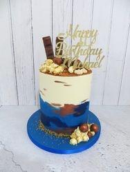 Blue and bronze buttercream cake