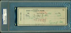 Ty Cobb Signed Autographed Check - Graded PSA / DNA 10 - Signed In Cobb Green Ink Outstanding Cobb Check - Dated To 1952 -Perfect PSA 10!
