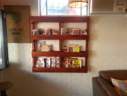 Wooden Magazine Rack for Beans & Greens Organic Cafe Shop.