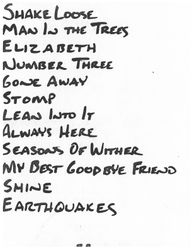 Setlist for show at unknown venue, likely Milwaukee, Circa late 1989/early 1990