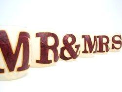 Cream and Burgundy MR & MRS