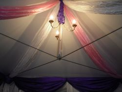 Pink, Purple and Ivory Drapes in a 3m Roof Section.