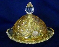 Venetian butter dish - marigold