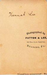 Patton & Lee, photographers of Reading, PA - back