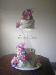 Pink purple and white wedding cake (W026)