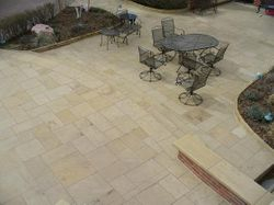 Modular Brownstone Patio Boulder Colorado Fully Custom Brownstone from Laporte with bullnosed stair treads and wall cap