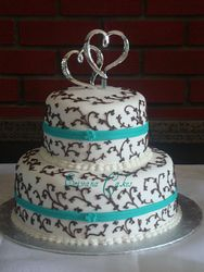 Brown and Turquoise Wedding Cake (W018)