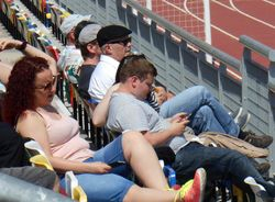 THE KELLY FAMILY ENJOY THE GAME IN THE LESSER STAND