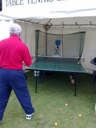 Tent, Table and Robot set up at Diss Carnival