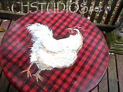 Red Plaid Chicken Table w matching stools