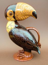"Lidded Toucan Jug 13"" tall"