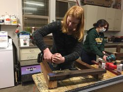 Kelsey constructing the red panda platform